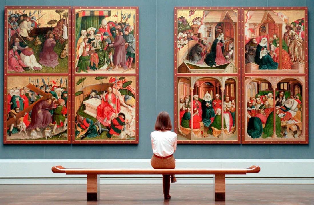 In der Gemäldegalerie am Kulturforum: ...er Altar von Hans Multscher (um 1400)   | Foto: dpa