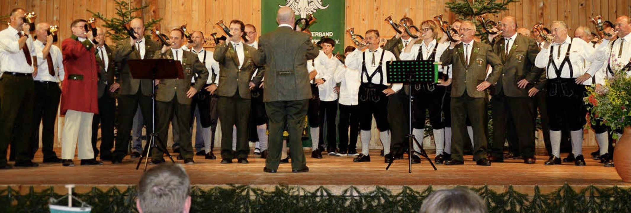 Horn an Horn zum Geburtstagsständchen.  | Foto: Hättich