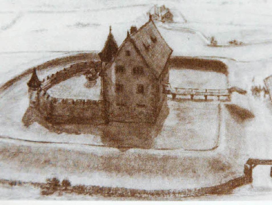 Die Lörracher Wasserburg in der Rekons...an  vorstellte und zu Papier brachte.     Foto: seh
