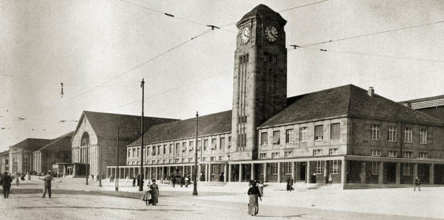 Der neue Badische Bahnhof kurz nach seiner Eröffnung im Jahr 1913   | Foto: Stadtarchiv