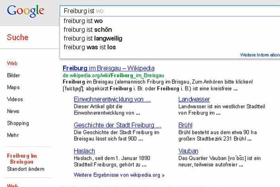 Ernüchternd: Viele Google-Nutzer wissen nicht mal, wo Freiburg liegt – und ob die Stadt eine Reise wert ist. (Foto: Screenshot BZ)