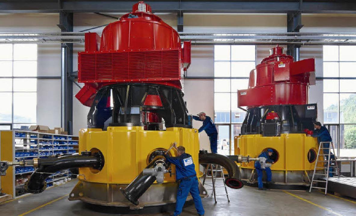 Fachkräfte bei Endfertigung zweier Großturbinen  | Foto: WKV, Roland Krieg Fotodesign