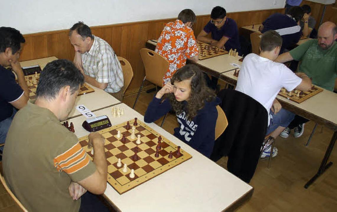 Teilnehmer des Schnellschach-Turniers ...etztendlich den dritten Platz belegte.    Foto: Rebekka Sommer