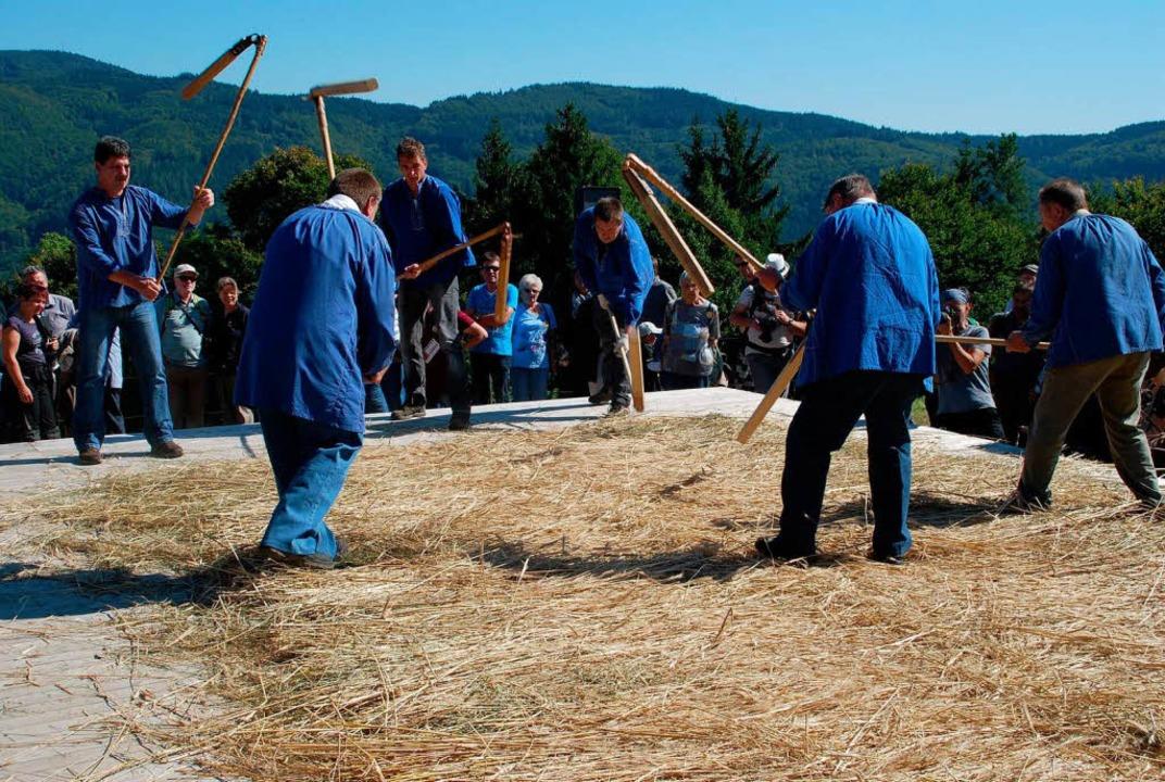 Mit Dreschschlägel das Spreu vom Weizenkorn trennen  | Foto: Edgar Steinfelder
