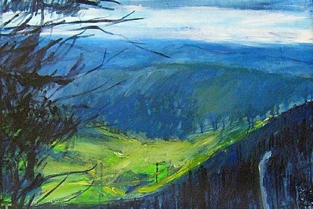 Zwei Künstler blicken auf den Schwarzwald