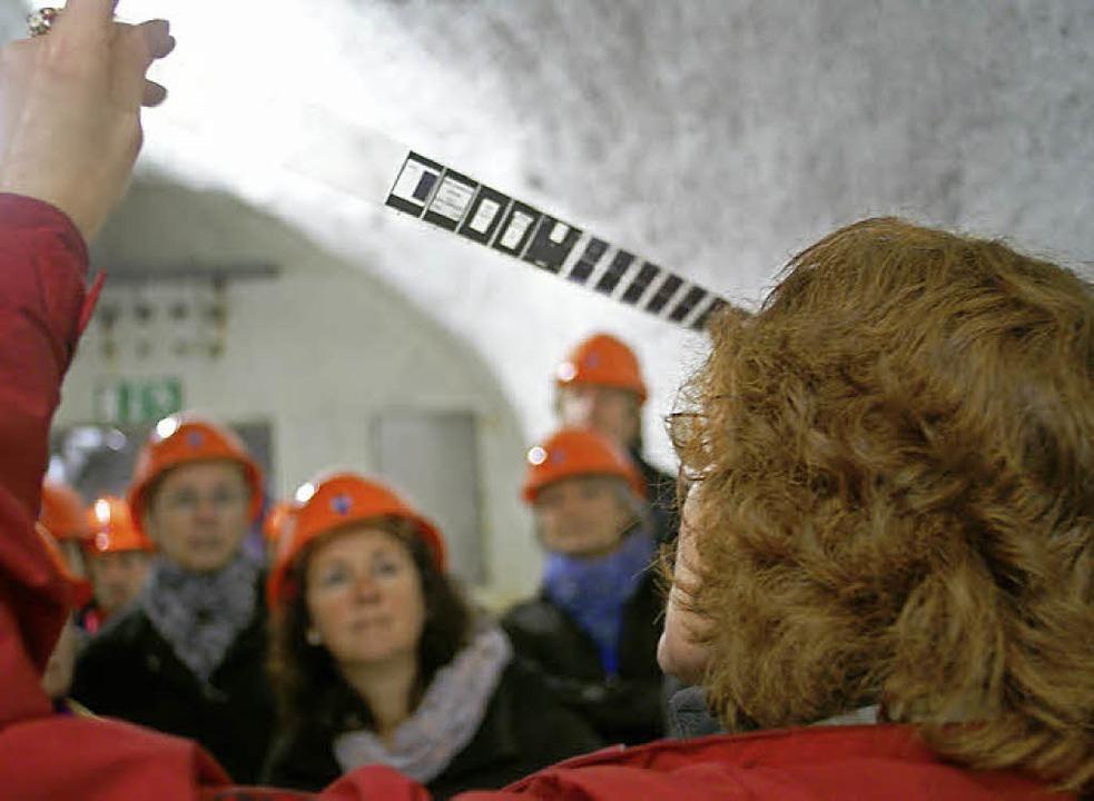 Ursula Fuchs führte die Besucher durch...wertvollen Dokumente abgelichtet sind.  | Foto: Christian John