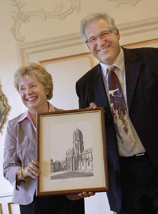 Der Schlettstädter Bürgermeister Marce...der Schlettstädter Saint-George Kirche    Foto: Rebekka Sommer