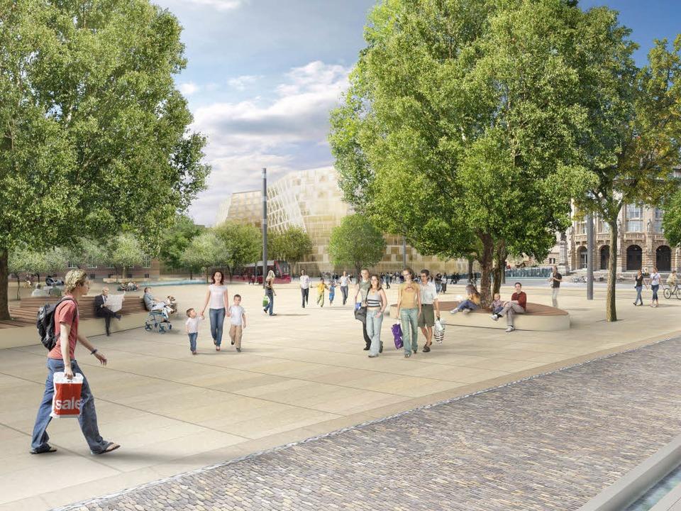 So soll der Platz der Alten Synagoge i...burg nach der Umgestaltung  aussehen.   | Foto: Animation: www.gd90.de
