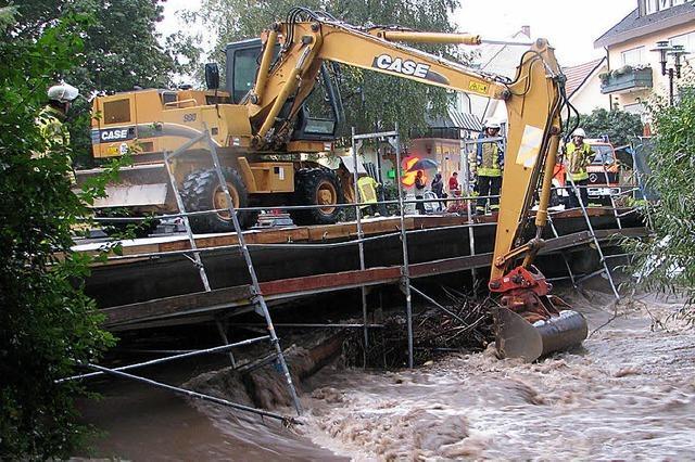 Fluten zerstören Brückengerüste
