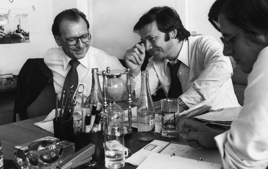Bunte-Redaktionskonferenz 1977 in Offe...ben ihm Produktionschef Gerd Spiegel.   | Foto: Hubert Burda Media
