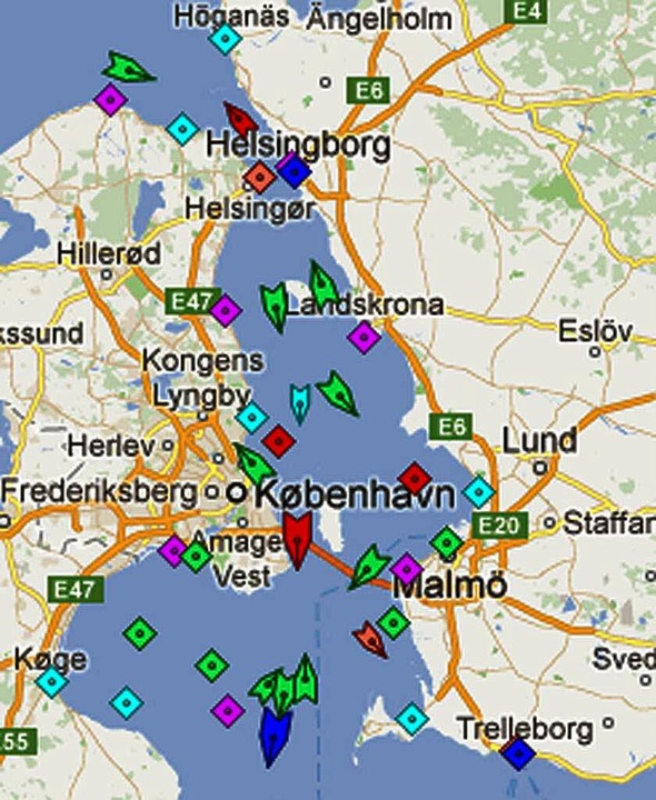 Eine Karte mit dem Schiffsverkehr an e...m Schlepper, Lotsen- und Fischerboote.  | Foto: -