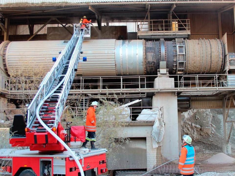 Mit Hilfe der Drehleiter konnte der Brand gelöscht werden.  | Foto: Horst David