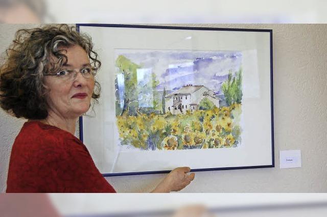 Aquarelle von Cäcilia Weis im Kurhaus von Freiamt
