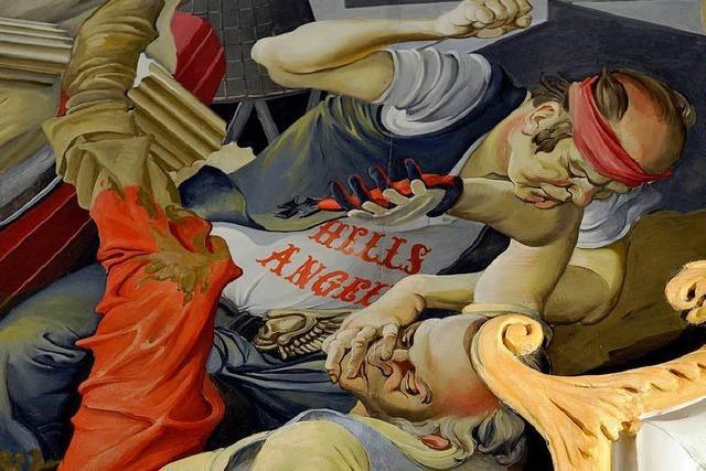 Hells Angels sind dargestellt im Deckengemälde von Ruster Kirche