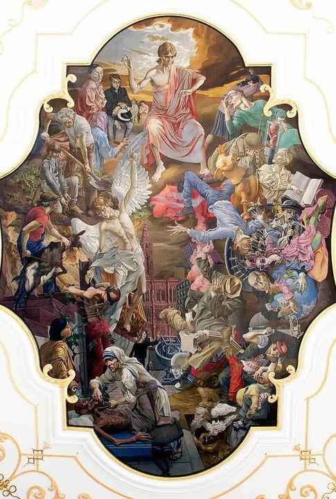 Hells Angels im Deckengemälde der Kirche rechts unten...  | Foto: Bernhard Rein