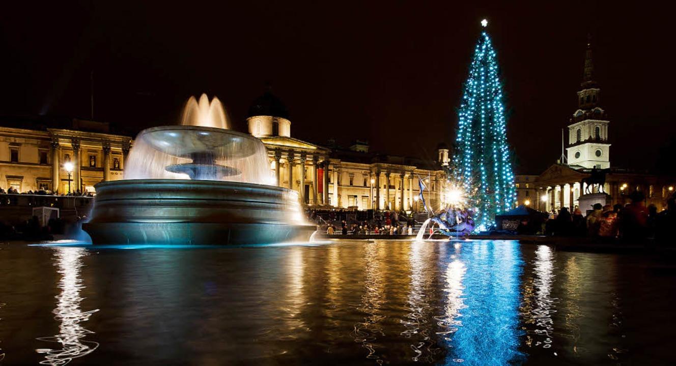 Seit 66 Jahren schenkt Norwegen Englan...hnachtsbaum für den Trafalgar Square.   | Foto: AFP