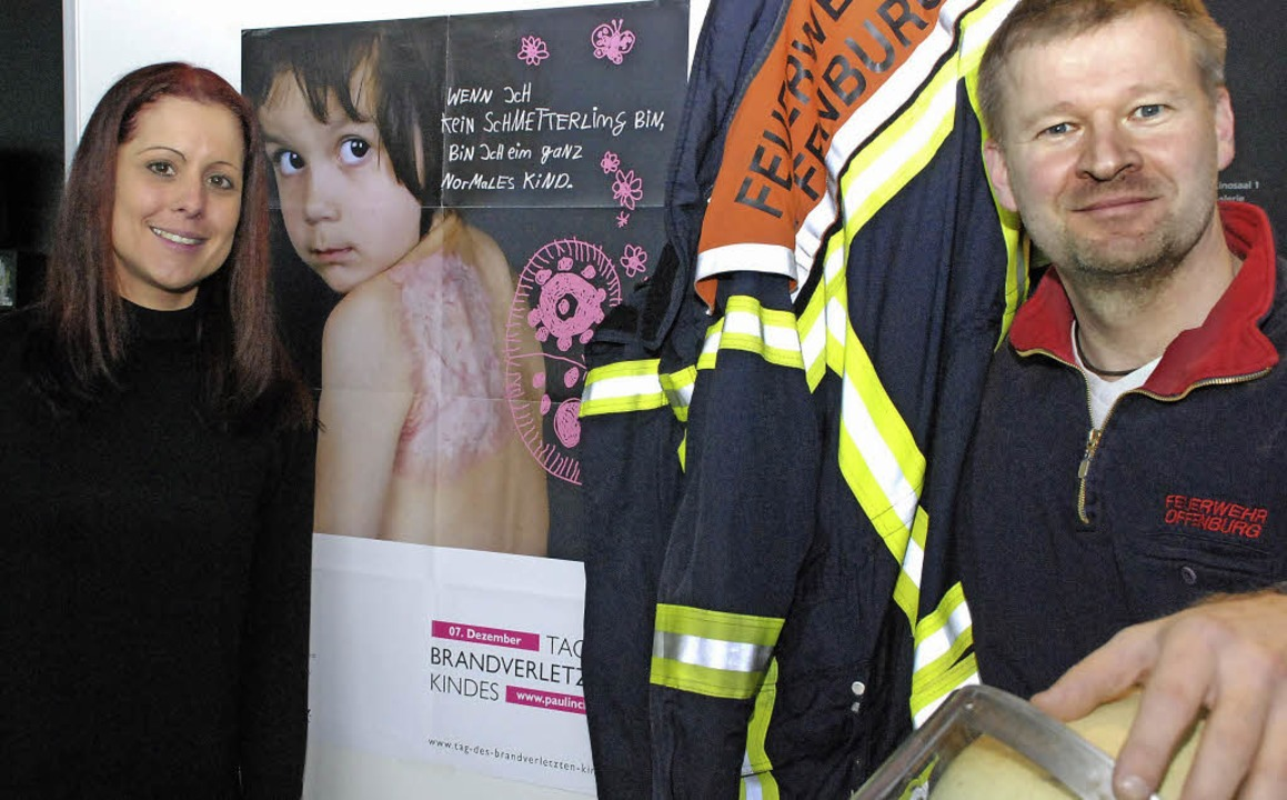 Corinna Staar vom Verein Paulinchen un...nburger Feuerwehr, Wolfgang Schreiber.    Foto: Gertrude Siefke
