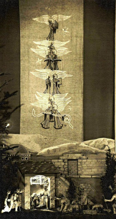 In der  <rot>1936</rot> eingeweihten n...nz Spiegelhalter  geschnitzte Krippe.   | Foto: Archiv Hans Sigmund