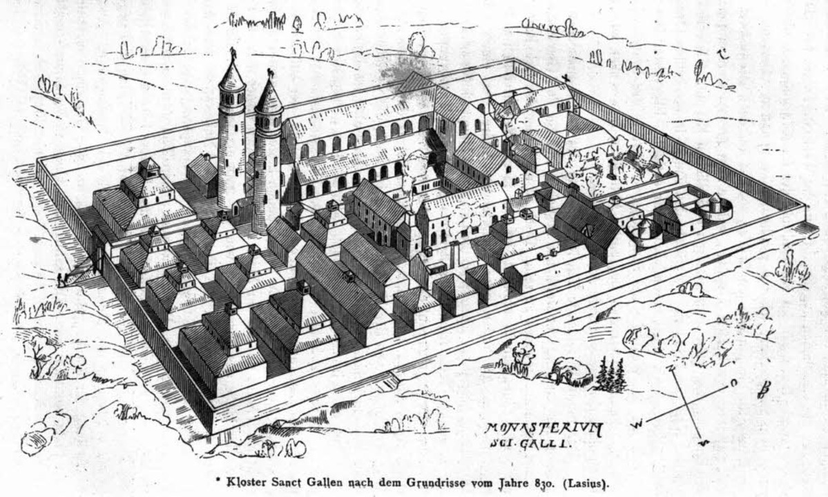 Den St. Gallener Klosterplan hat Rudol...iner Zeichnung anschaulich umgesetzt.   | Foto: BZ