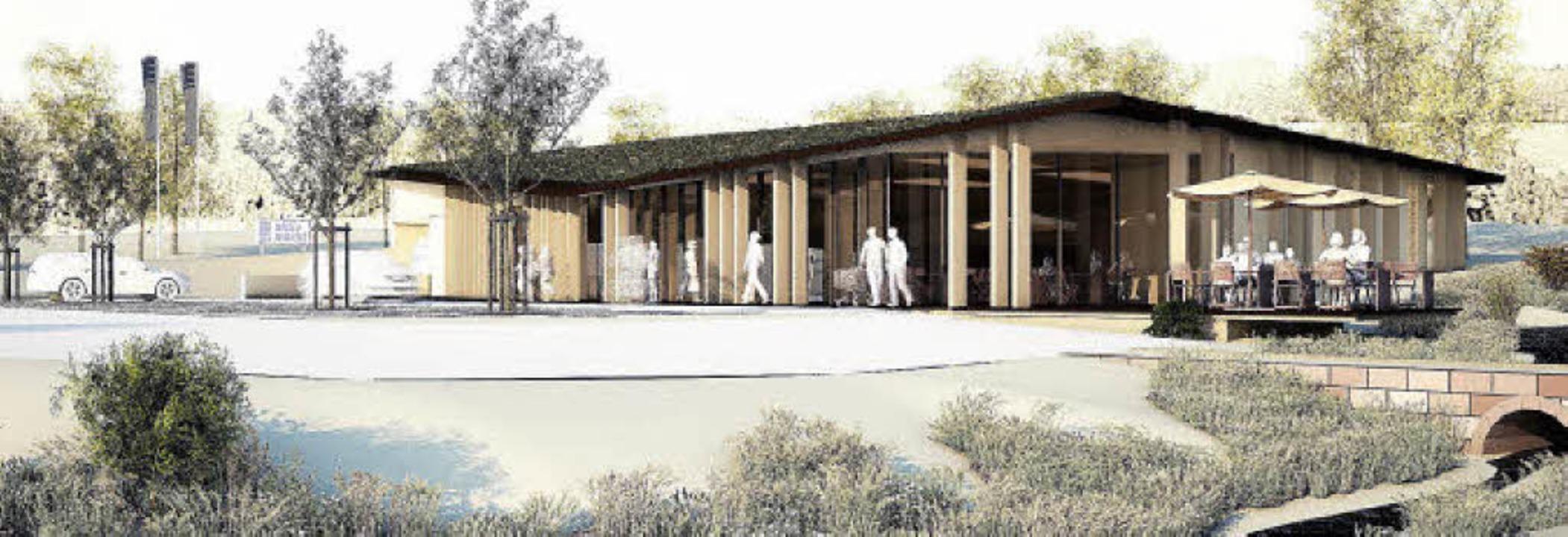 So könnte der Supermarkt mit Café und Terrasse einmal aussehen.   | Foto: Entwurf: Bodo Rügner/Werkgruppe Lahr