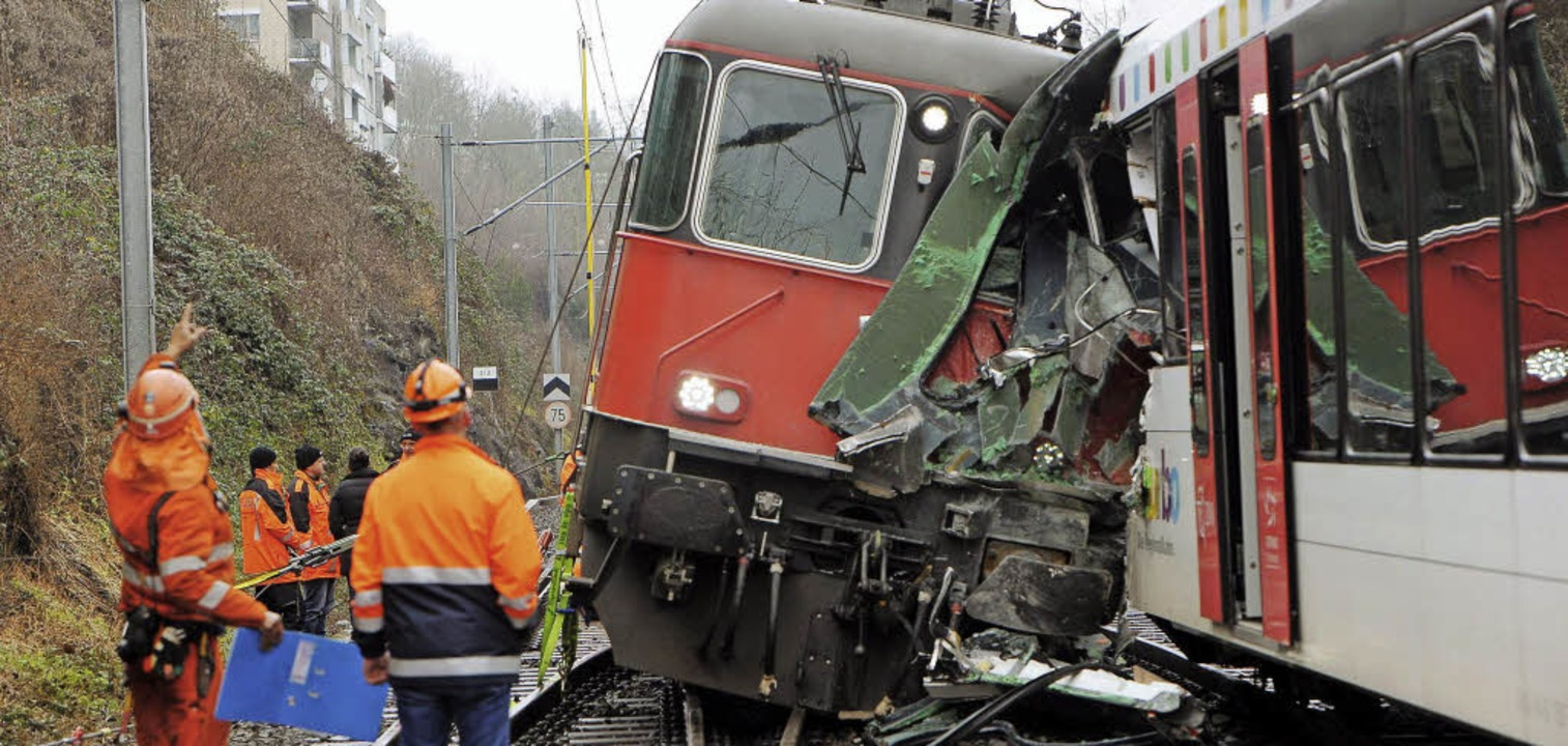 Helfer der Rettungsmannschaften sehen ...äden an den beiden Schweizer Zügen an   | Foto: DPA