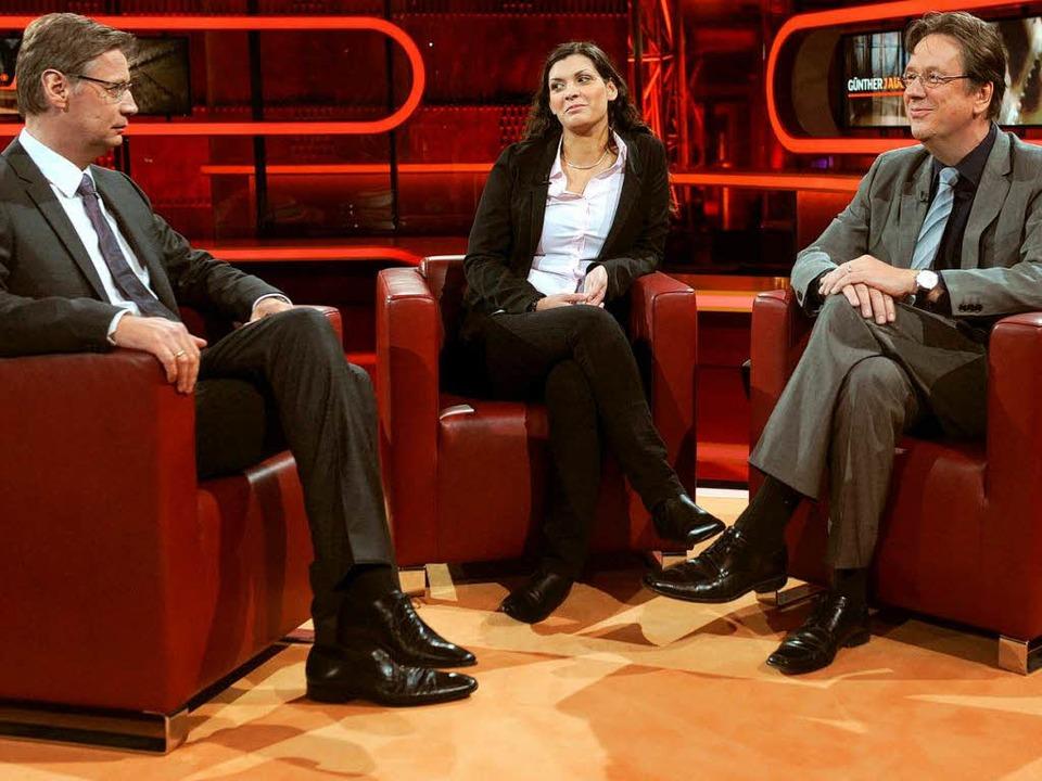 Prominente fördern die Quote: Jörg Kac...riam bei ARD-Talkmaster Günther Jauch   | Foto: dpa