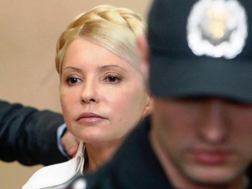 Julia Timoschenko während einer Anhörung vor Gericht     Foto: DPA