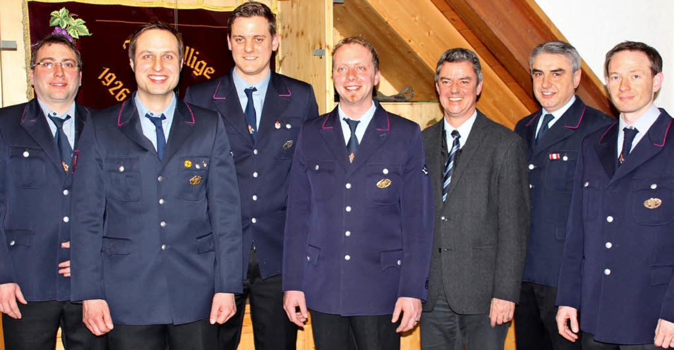 Bürgermeister Volker Kieber (Dritter v...elinger und  Harald Ambs (von links).   | Foto: Mario Schöneberg