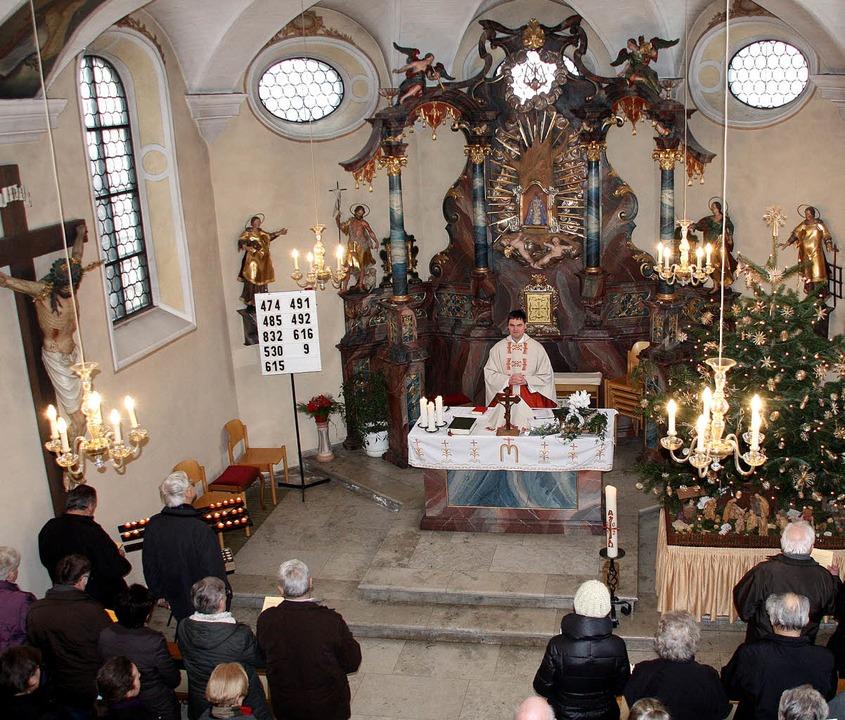 Der Innenraum der Kapelle auf dem Gier...tesdienst vor Beginn der Bauarbeiten.     Foto: Silvia Faller