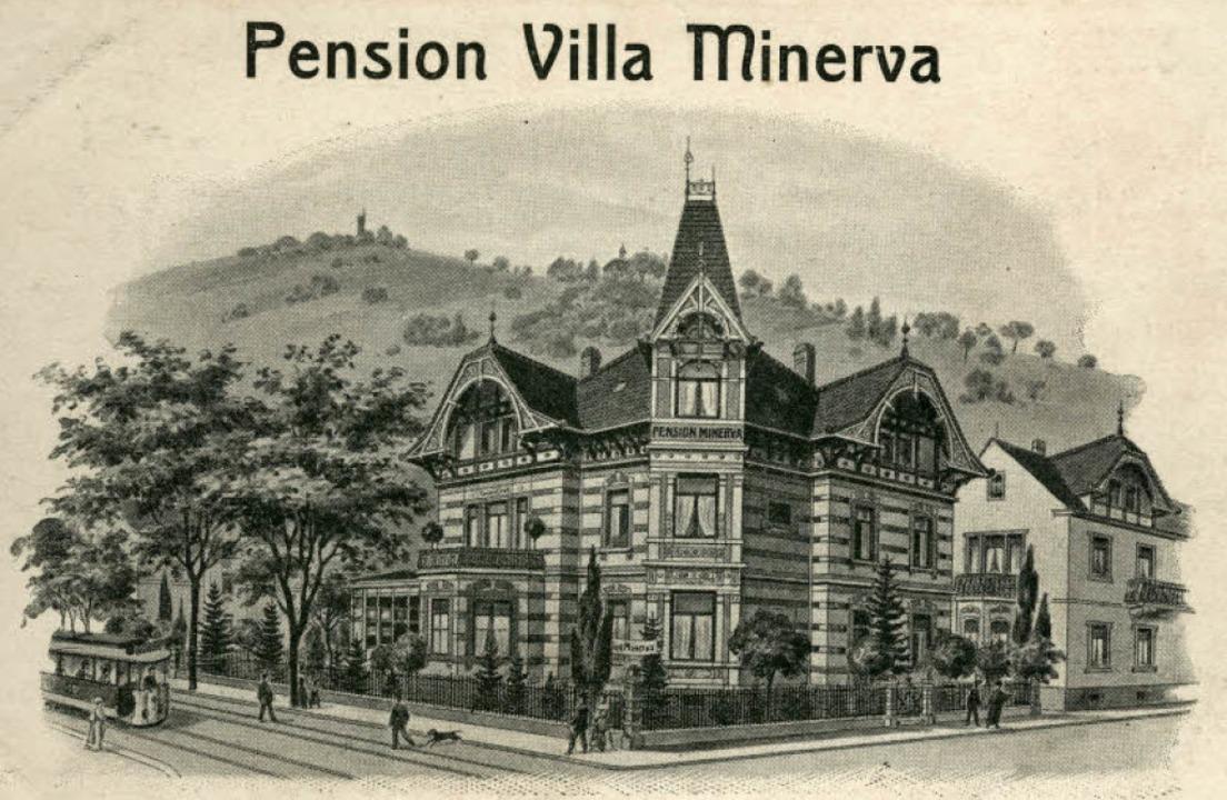 Die um 1908 entstandene Lithografie ze...a Minerva in der Günterstalstraße 56.   | Foto: Archiv Manfred Gallo