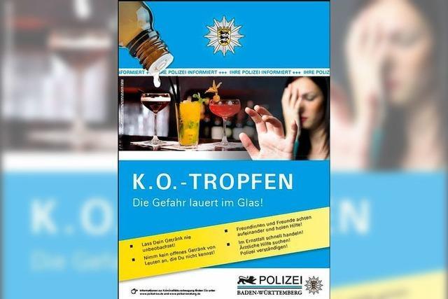 Polizei mahnt zur Vorsicht vor K.O.-Tropfen