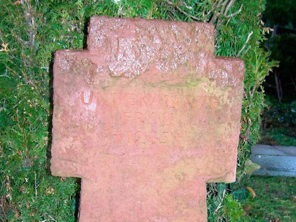 Grabstein für eine unbekannte Frau, ei...terin, die in Waldkirch ums Leben kam.  | Foto: Sylvia Timm