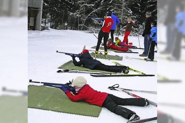 Werbung für Biathlon-Sport