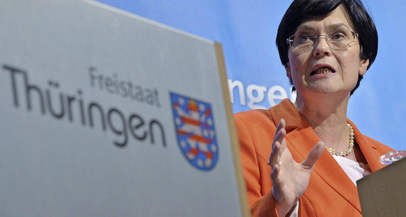Christine Lieberknecht will ihr Land neu sortieren.  | Foto: dpa