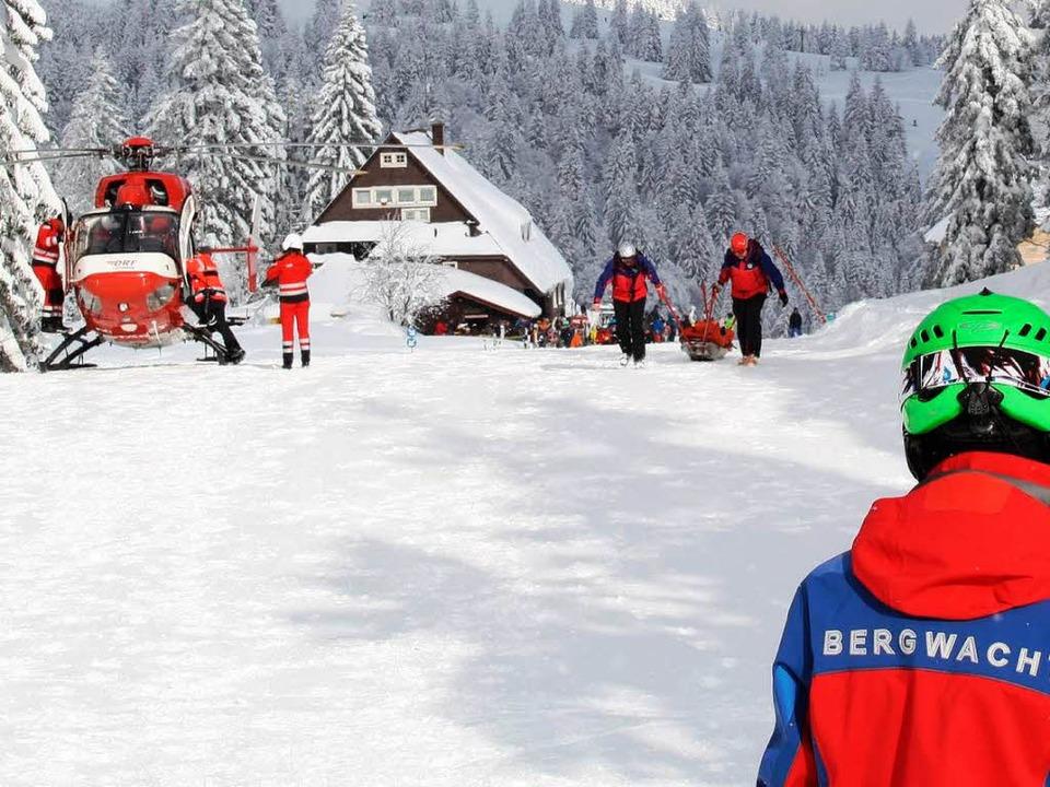 Die Grafenmatt-Abfahrt auf dem Feldber...kt neben der Unfallstelle möglich war.  | Foto: Niklas Eckert / Bergwacht Schwarzwald