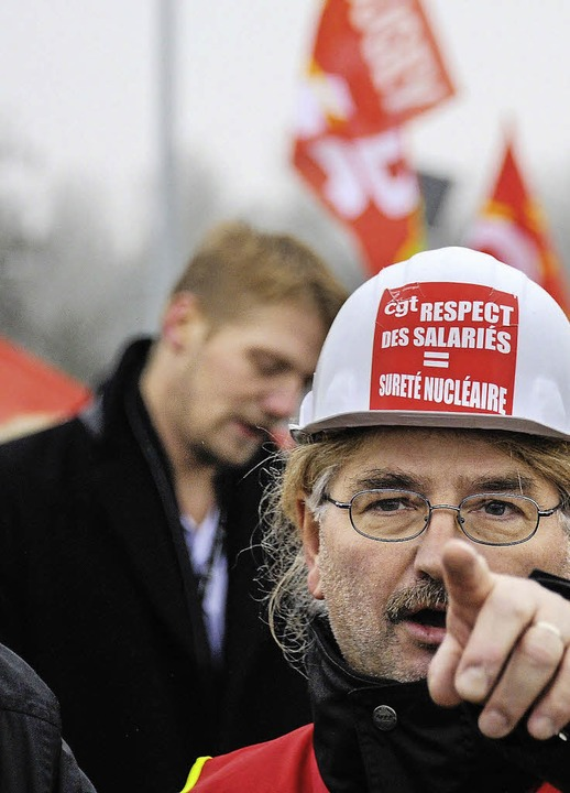 """Respektiert die Beschäftigten"": Pro-Akw-Kundgebung im Januar  | Foto: AFP"