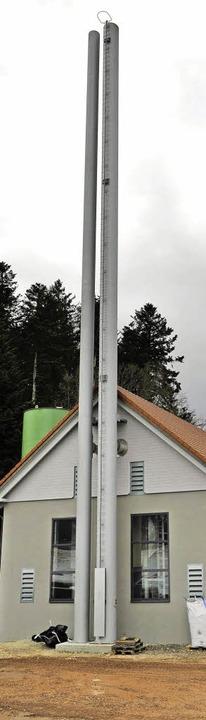 Der Doppelkamin des Biomassekraftwerks    | Foto: franziska löffler