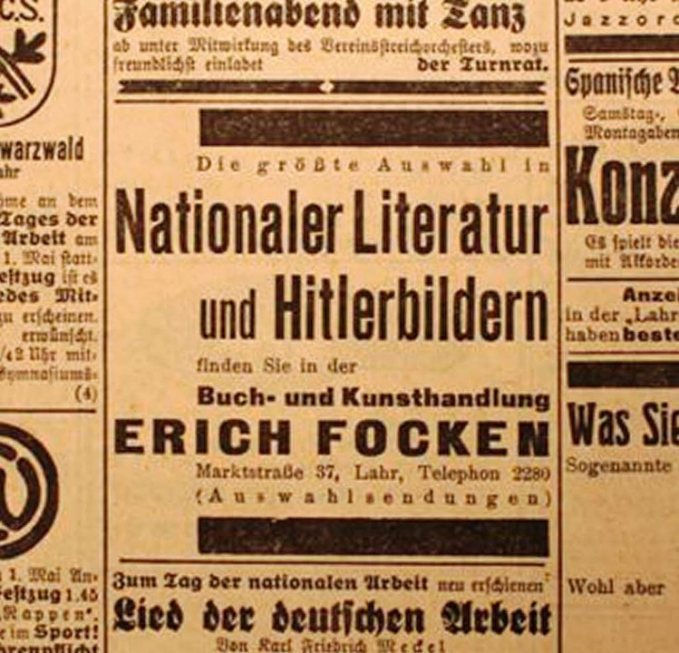 Geschäftsanzeige in der Lahrer Zeitung vom Frühjahr 1933    Foto: Stadtarchiv Lahr