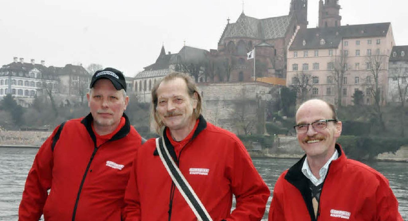 Die Stadtführer  Wolfgang Kreibich, Rolf Mauti und Markus Christen (von links)   | Foto: Annette Mahro