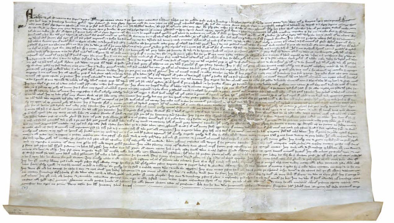Neuenburgs bedeutendste Urkunde: die S...achtstag des Jahres 1292 überbrachte.   | Foto: Drescher