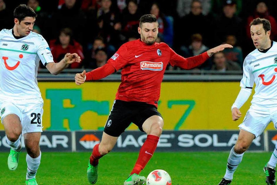 Der SC Freiburg gewinnt das Spiel gegen Hannover 96 mit Spielfreude und Angriffslust. (Foto: Michael Heuberger)
