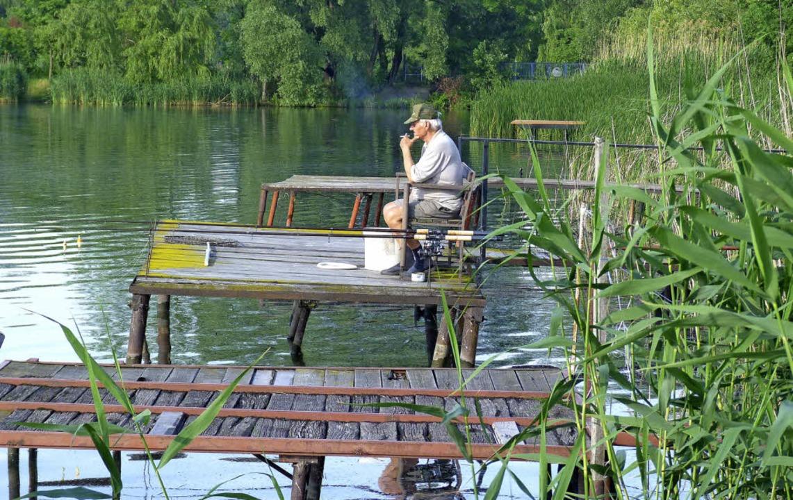 Idylle am Donauradweg in Ungarn: Ab un...wird  wohl ein Fisch am Haken hängen.   | Foto: Müller/Donau Touristik