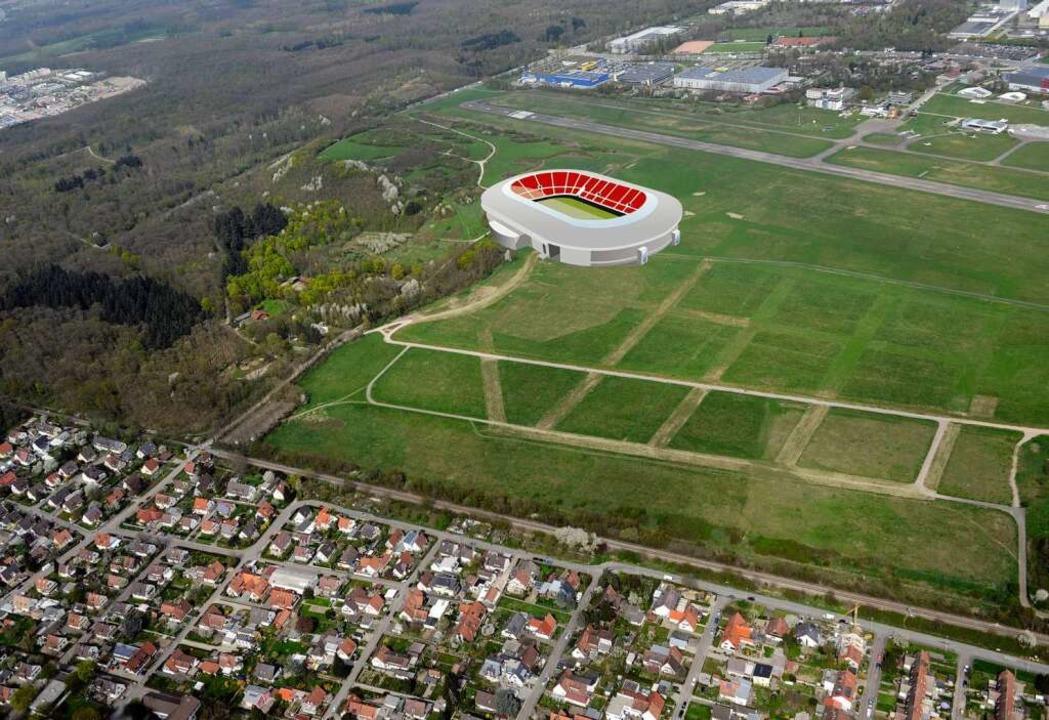 So in etwa könnte die neue SC-Arena au...age nur annähernd maßstabsgetreu ist.     Foto: Patrick Seeger/Montage: Josef Dresemann (BZ-Grafik)