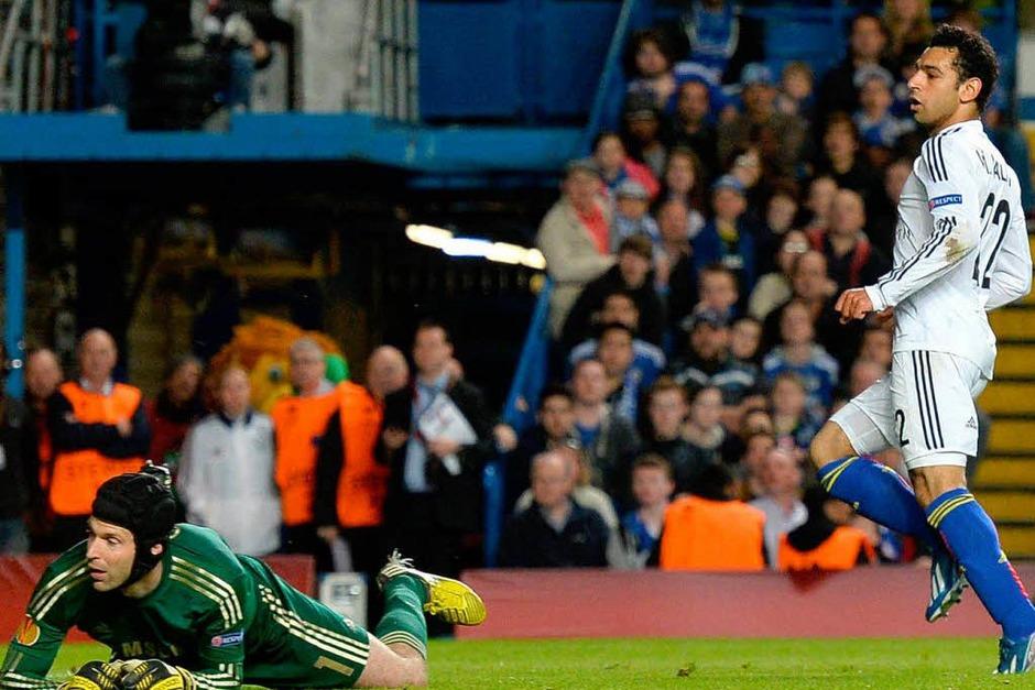 Mohamed Salah machte gegen den FC Chelsea das 1:0 für Basel und nährte damit die Hoffnung, das 1:2 aus dem Hinspiel wett zu machen. (Foto: AFP)