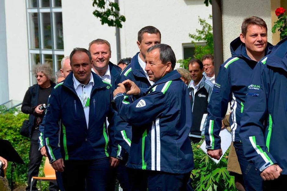 Offizieller Empfang der slowenischen Mannschaft auf dem Rathausplatz (Foto: Tanja Bury)