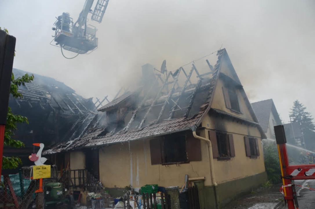 Das abgebrannte Haus in Willstätt-Legelshurst.