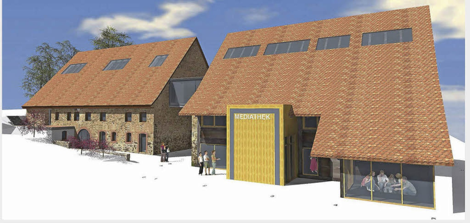 Mediathek, Bürgerbüro, Gemeindebauamt ...dtebauliche Umfeld eingebunden werden.  | Foto: Skizze:sutter3KG
