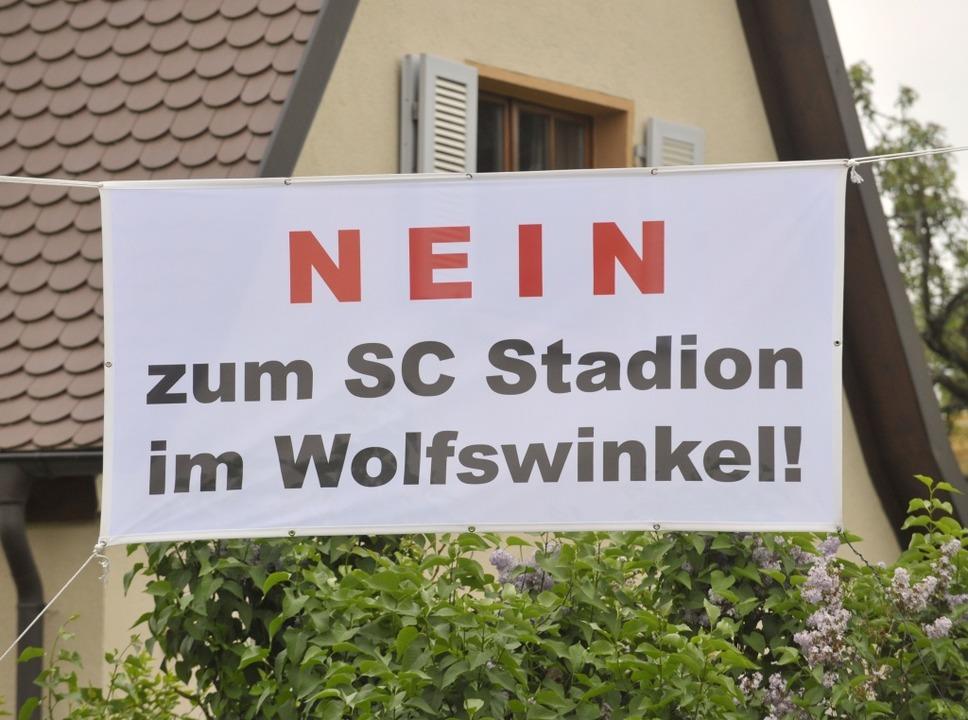 Im Stadtteil Mooswald regt sich derweil Widerstand gegen die Stadionpläne.  | Foto: Michael Bamberger