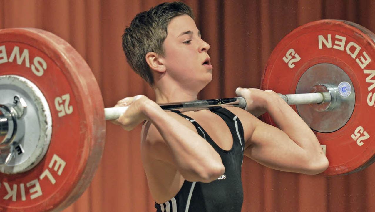 Kraftsport-Talent: Der Lörracher Morit...t am Olympiastützpunkt in Heidelberg.   | Foto: Kaufhold