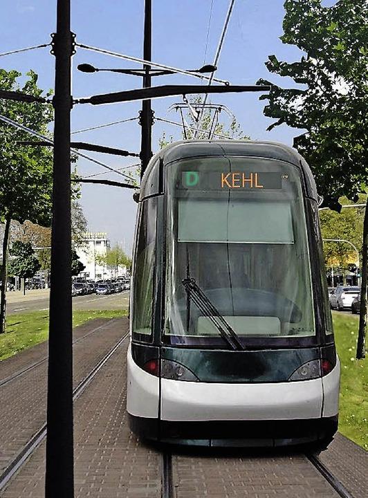 Noch Zukunftsmusik: der Anschluss von Kehl ans  Straßburger Straßenbahnnetz.     Foto: Montage: Stadt Kehl